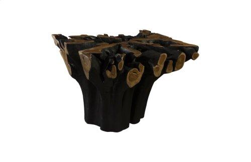Teak Wood Dining Table, Burnt Edge