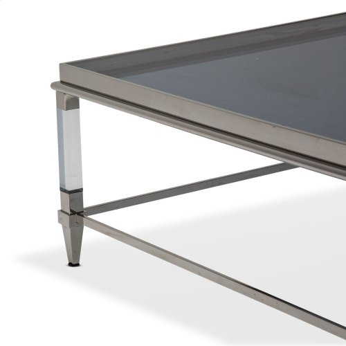 Square Cocktail Table W/smoked Nickel Glass Top