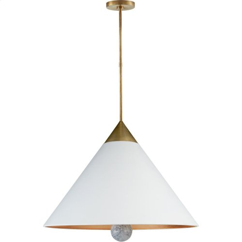 Visual Comfort KW5515AB/WM-WHT Kelly Wearstler Cleo 3 Light 30 inch Antique-Burnished Brass and White Marble Pendant Ceiling Light, Large