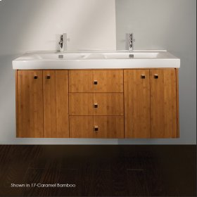 "Wall-mount under-counter double vanity with two sets of doors, two pull-out shelves, and three drawers, polished chrome pulls. 57 1/4""W, 17 1/4""D, 24""H"
