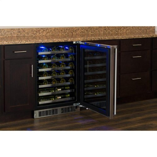 """24"""" High Efficiency Single Zone Wine Cellar - Panel-Ready Framed Glass Door with Lock - Integrated Right Hinge (handle not included)*"""