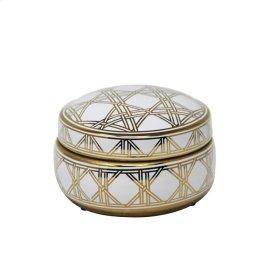 "White/gold Weave Design Jar 7"""