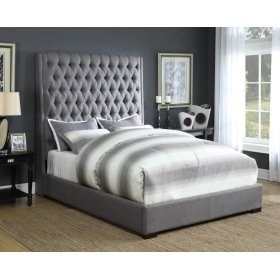 Camille Upholstered Queen Bed (Grey)