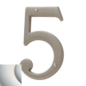 Polished Nickel with Lifetime Finish House Number - 5
