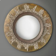 Sunburst Crystal Mirror, Convex Mirror Glass With Hand Applied Quartz Crystal.