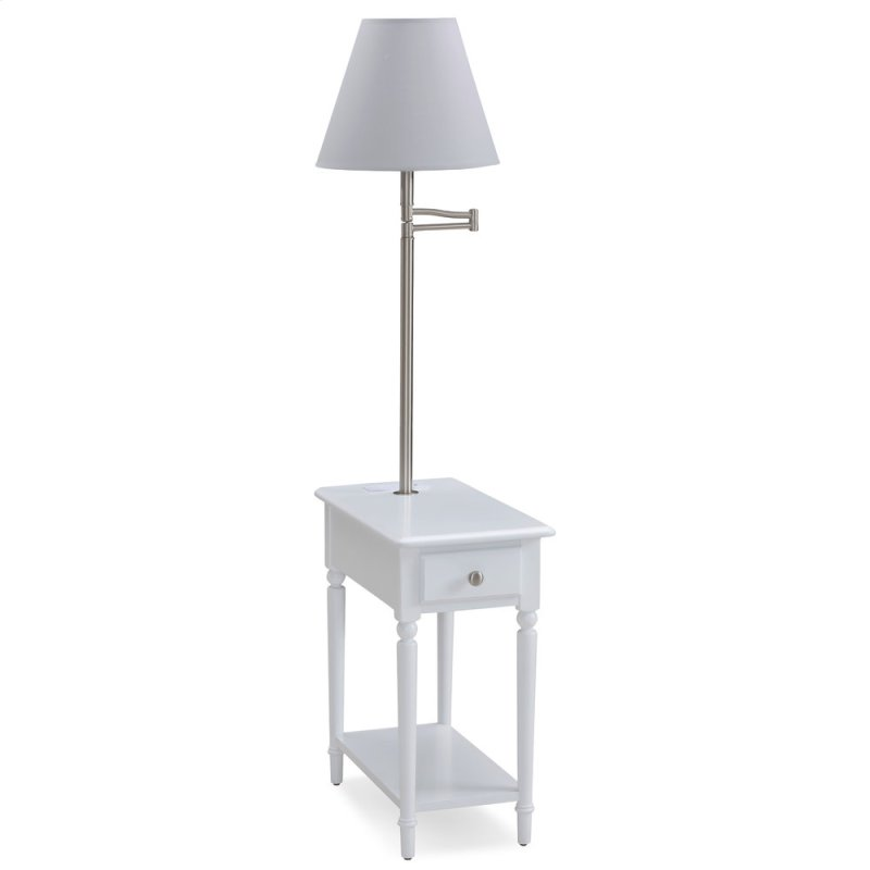 Orchid White Chairside Lamp Table With Ac Usb Charger 20037 Wt
