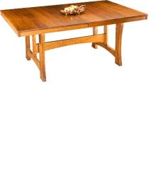 """Small Mission Trestle Table w/ Two 18"""" Leaves"""