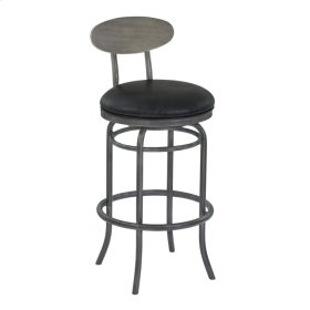 """Armen Living Davis 30"""" Bar Height Metal Swivel Barstool in Vintage Black Faux Leather with Mineral Finish and Gray Walnut Wood Back"""