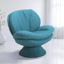 Rio Turquoise Fabric (Blue) -360 Degree Swivel -Wing Arms -Padded Seat -All Steel Construction -Quality Fabric Cover