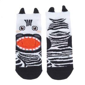 Zebra Heel Socks - Youth Shoe Size 8-13