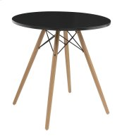 "Annette - Complete Table-round Black Top 27.5""&WOOD Legs-metal Struts"
