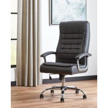 Contemporary Black Faux Leather Office Chair