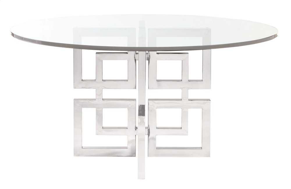 Soho Luxe Round Dining Table Glass Top And Metal Dining Table Base