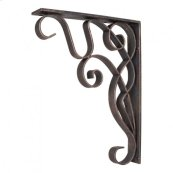 "1-7/8"" x 10"" x 13-1/2"" Metal (Iron) Art Nouveau Bar Bracket. Finish: Dark Brushed Antique Copper. Mounting Screws (#8x3/4"") Included. Not for outdoor use."