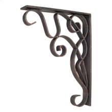 """1-7/8"""" x 10"""" x 13-1/2"""" Metal (Iron) Art Nouveau Bar Bracket. Finish: Dark Brushed Antique Copper. Mounting Screws (#8x3/4"""") Included. Not for outdoor use."""