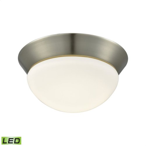 Contours Integrated LED Flush Mount in Satin Nickel with Opal Glass - Small