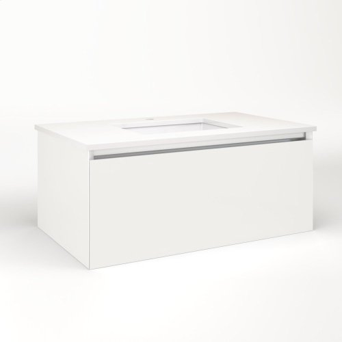 """Cartesian 36-1/8"""" X 15"""" X 21-3/4"""" Single Drawer Vanity In Beach With Slow-close Plumbing Drawer and Night Light In 5000k Temperature (cool Light)"""