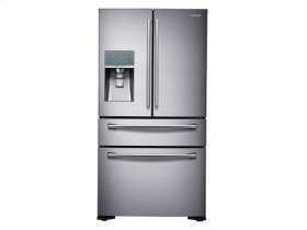 Samsung 4pc. Stainless Steel kitchen package with 24 cu ft. counter depth 4-Door fridge and slide-in double oven convection gas range