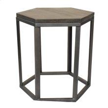 Bengal Manor Mango Wood and Metal Grey Hexagon End Table
