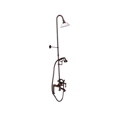 Tub Filler with Diverter Hand-Held Shower and Riser - Metal Lever Handles - Oil Rubbed Bronze