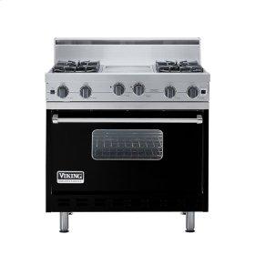 """Black 36"""" Open Burner Range - VGIC (36"""" wide, four burners 12"""" wide griddle/simmer plate)"""