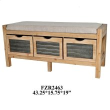 43.25X15.75X20.5 WOOD BENCH,1 PC/ 11.6'