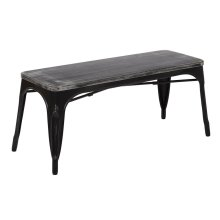Briwstow Antique Black Frame Bench With Vintage Wood Seat In Ash Crazy Horse Finish Fully Assembled