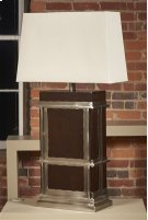 Dark Walnut Finished Table Lamp, Satin Nickel Brass Accents, Silk Shade Product Image