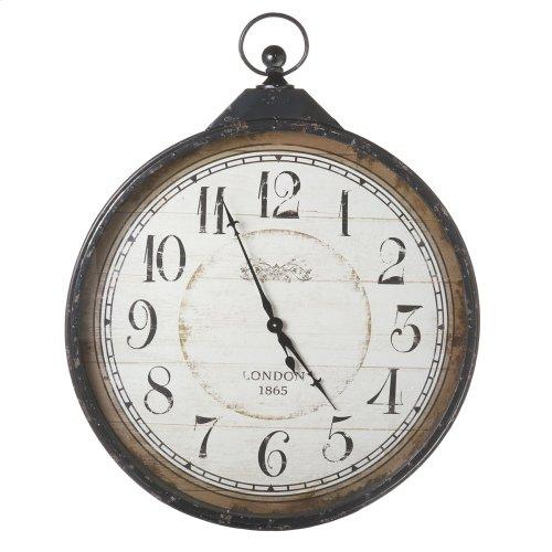 Extra Large Distressed Black Pocket Watch Clock.