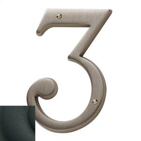 Satin Black House Number - 3