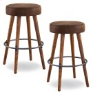 Rustic Round Faux Leather Bar Height Swivel Stool #10103WY/BB - Set of 2 Product Image