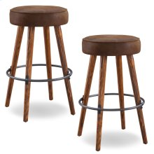 Rustic Round Faux Leather Bar Height Swivel Stool #10103WY/BB - Set of 2