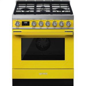 """SmegPortofino Pro-Style Dual Fuel Range, Yellow, 30"""" x 25"""""""