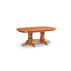 Traditional Double Pedestal Table, Solid Top