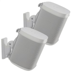 White Wireless Speaker Swivel and Tilt Wall Mounts designed for Sonos ONE. Play:1, and Play:3 - WHITE