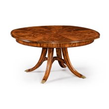 """59"""" Crotch Walnut Circular Dining Table with Self-Storing Leaves"""