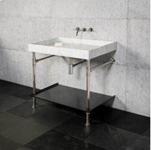 Ventus Bath Sink With Tray Carrara Marble / 24in / Polished Nickel