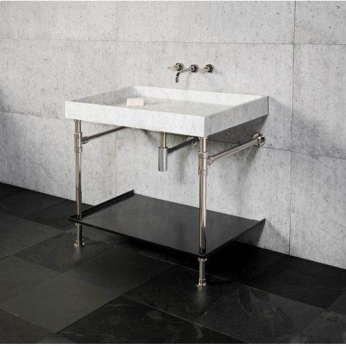Ventus Bath Sink With Tray Carrara Marble / 36in / Polished Nickel