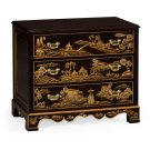 Chinoiserie Style Ebonised Bedside Chest of Drawers Product Image