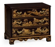 Chinoiserie Style Ebonised Bedside Chest of Drawers