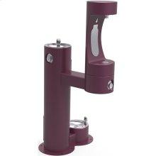Elkay Outdoor ezH2O Bottle Filling Station, Bi-Level Pedestal with Pet Station NonFilter, NonRefrige FreezeResist Purple