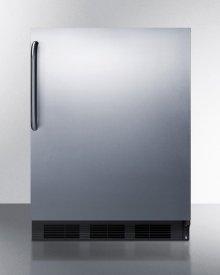 Freestanding ADA Compliant Refrigerator-freezer for General Purpose Use, W/dual Evaporator Cooling, Cycle Defrost, Ss Door, Towel Bar Handle, Black Cabinet