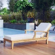 Marina Outdoor Patio Teak Single Chaise in Natural White