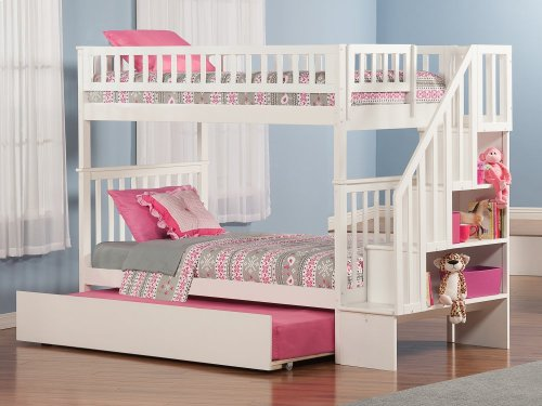 Woodland Staircase Bunk Bed Twin over Twin with Urban Trundle Bed in White