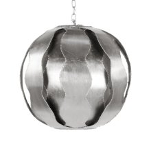 Brutalist Wave Ball Pendant In Silver Leaf.