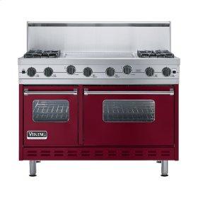"""Burgundy 48"""" Sealed Burner Range - VGIC (48"""" wide, four burners 24"""" wide griddle/simmer plate)"""