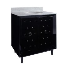 Black Lacquer Bath Vanity With Nickel Studs & Hardware.