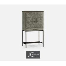 Antique Dark Grey Drinks Cabinet with Iron Base