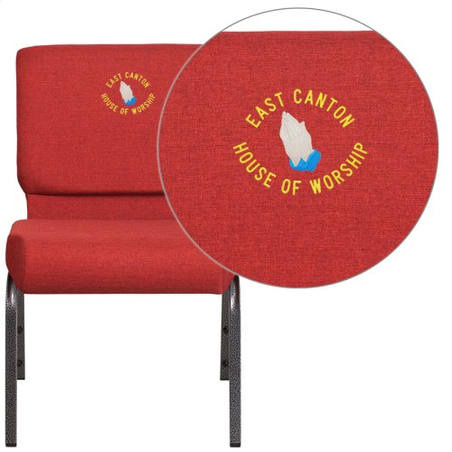 Embroidered HERCULES Series 21'' Extra Wide Crimson Fabric Stacking Church Chair with 4'' Thick Seat - Silver Vein Frame