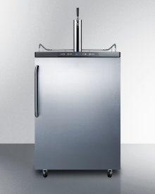 Freestanding Commercially Listed Beer Dispenser, Auto Defrost With Digital Thermostat, Stainless Steel Door, Towel Bar Handle, and Black Cabinet